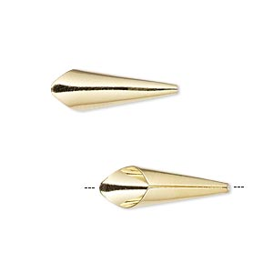 cone, gold-finished brass, 21x7mm smooth with 6mm inside diameter. sold per pkg of 12.