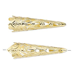 cone, gold-finished brass, 35x9mm filigree with 8mm inside diameter. sold per pkg of 6.