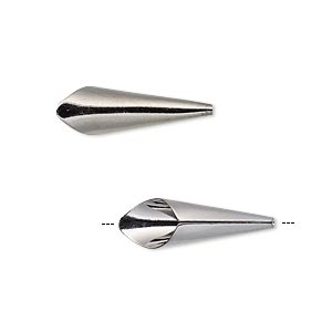 cone, gunmetal-plated brass, 21x7mm smooth, fits 6mm bead. sold per pkg of 12.