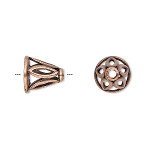 cone, jbb findings, antique copper-plated brass, 11x11mm with cutout marquise design, fits 8.5mm bead. sold individually.