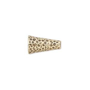 cone, jbb findings, antiqued brass, 15.5x9mm hammered, fits 7.5mm bead. sold individually.
