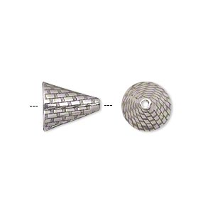 cone, jbb findings, antiqued sterling silver, 12x10.5mm woven texture, fits 10-14mm beads. sold individually.