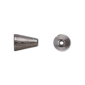 cone, tierracast, black-plated pewter (tin-based alloy), 12.5x8mm ridged, 6mm inside diameter. sold per pkg of 2.