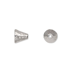 cone, tierracast, rhodium-plated pewter (tin-based alloy), 8mm hammered, fits 6-8mm bead. sold per pkg of 2.