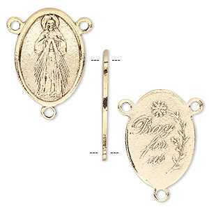 connector, antique gold-plated pewter (tin-based alloy), 23x16mm double-sided oval rosary with virgin mary and pray for us. sold per pkg of 2.