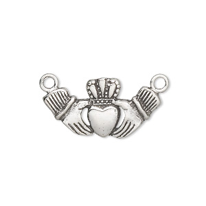 connector, antiqued sterling silver, 23x12mm claddagh. sold individually.