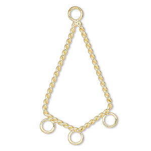 connector, gold-plated steel, 28x17mm twisted kite with 3 loops. sold per pkg of 10.
