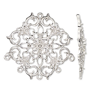 connector, silver-finished pewter (zinc-based alloy), 39mm single-sided filigree with flower design with 6 loops. sold per pkg of 2.