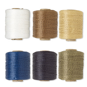 cord, 3-ply bonded polyester twine, assorted colors, 1mm. sold per pkg of (6) 2-ounce spools.