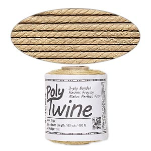 cord, 3-ply bonded polyester twine, beige, 1mm diameter. sold per 2-ounce spool.