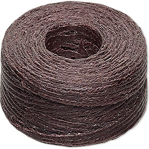 cord, 4-ply waxed linen, brown (dyed), 0.5-0.8mm, 40-pound test. sold per 50-yard spool.