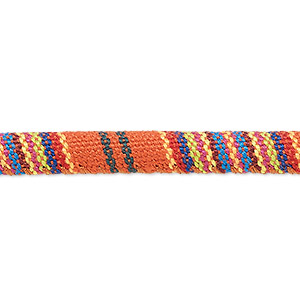 cord, cotton, orange and multicolored, 6-7mm round with line design. sold per pkg of 1 meter.
