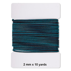 cord, elastic rubber and nylon, black and turquoise blue, 2mm diameter with dots. sold per pkg of 10 yards.