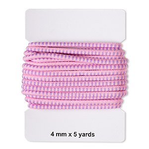 cord, elastic rubber and nylon, pink and purple, 4mm diameter with dots. sold per pkg of 5 yards.