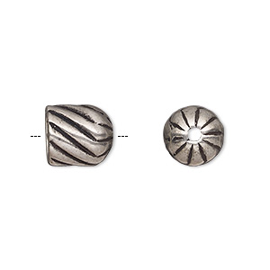cord end, antique silver-plated pewter (tin-based alloy), 10.5x10mm corrugated twisted round tube, 7.5mm inside diameter. sold individually.