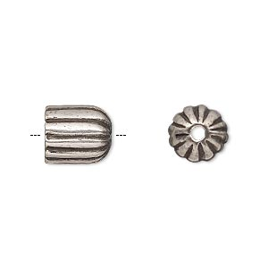 cord end, antique silver-plated pewter (tin-based alloy), 11x9.5mm corrugated round tube, 7mm inside diameter. sold individually.