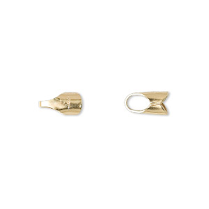 cord end, fold-over, 14kt gold-filled, 9x5mm round with 4mm inside diameter. sold per pkg of 10.