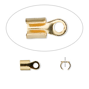 cord end, fold-over, gold-plated steel, 5x5mm with 4mm inside diameter. sold per pkg of 100.