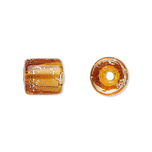 cord end, glass, transparent amber yellow with silver-colored foil, 11x11mm with confetti pattern. 5mm inside diameter. sold per pkg of 2.
