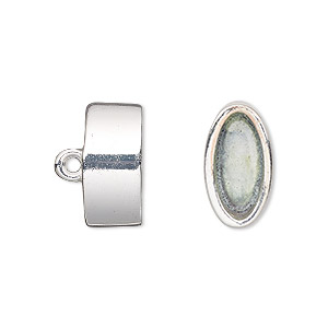 cord end, glue-in, silver-finished pewter (zinc-based alloy), 16x9mm oval, 13.5x6.5mm inside diameter. sold per pkg of 2.