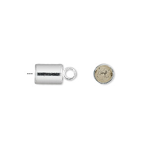 cord end, glue-in, sterling silver, 8x6mm cylinder, 5mm inside diameter. sold per pkg of 2.