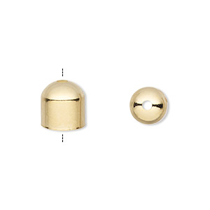 cord end, gold-plated brass, 8x8mm with 7mm inside diameter. sold per pkg of 100.