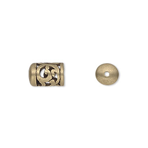 cord end, jbb findings, antiqued brass, 11x7mm filigree round tube, 5mm inside diameter. sold per pkg of 2.