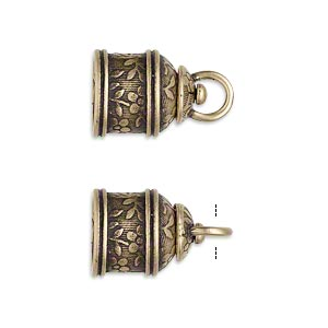 cord end, jbb findings, antiqued brass, 15x12mm tube with swivel and flower and leaves design, 9.5mm inside diameter. sold per pkg of 2.