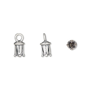 cord end, jbb findings, antiqued sterling silver, 7x5mm cone, 2mm inside diameter. sold individually.