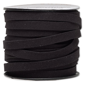 cord, faux suede, black, 10mm flat. sold per pkg of 3 yards.