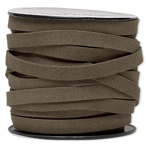 cord, faux suede, brown-olive, 10mm flat. sold per pkg of 3 yards.