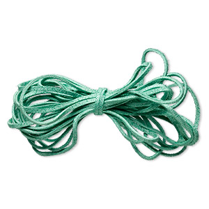 cord, faux suede lace, green, 3mm. sold per pkg of 5 yards.