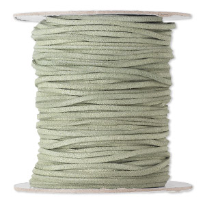 cord, faux suede lace, olive-brown, 3mm. sold per 100-yard spool.