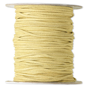 cord, faux suede lace, tan, 3mm. sold per 100-yard spool.