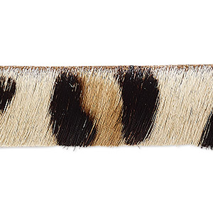 cord, hair-on leather, brown / dark brown / natural, 16mm single-sided flat with cheetah pattern. sold per pkg of 1 yard.