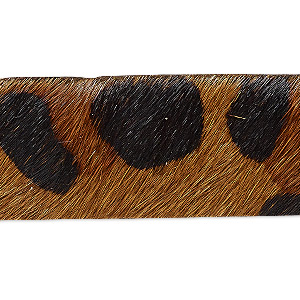 cord, hair-on leather, brown and dark brown, 20mm single-sided flat with leopard pattern. sold per pkg of 1 yard.