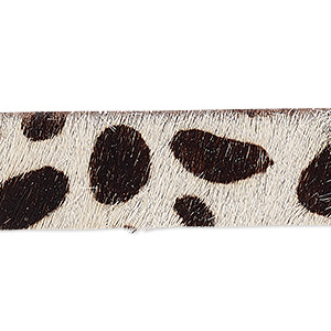 cord, hair-on leather, dark brown and tan, 16mm single-sided flat with giraffe pattern. sold per pkg of 1 yard.