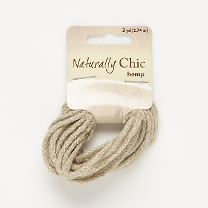 cord, hemp, natural, 2mm diameter. sold per pkg of 3 yards.