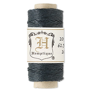 cord, hemptique, natural hemp, black, 0.5mm diameter. sold per 100-foot spool.