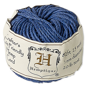 cord, hemptique, polished hemp, blue, 1mm diameter, 20-pound test. sold per 82-foot ball.