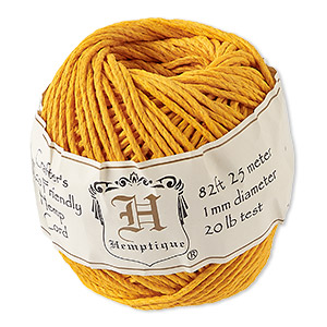 cord, hemptique, polished hemp, gold, 1mm diameter, 20-pound test. sold per 82-foot ball.