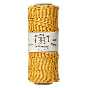 cord, hemptique, polished hemp, gold, 1mm diameter, 20-pound test. sold per 205-foot spool.