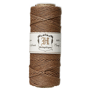 cord, hemptique, polished hemp, light brown, 1mm diameter, 20-pound test. sold per 205-foot spool.