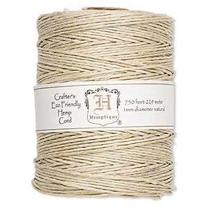 cord, hemptique, polished hemp, natural, 1mm diameter, 20-pound test. sold per 750-foot spool.