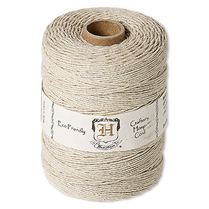 cord, hemptique, polished hemp, natural, 1mm diameter, 20-pound test. sold per 650-foot ball.