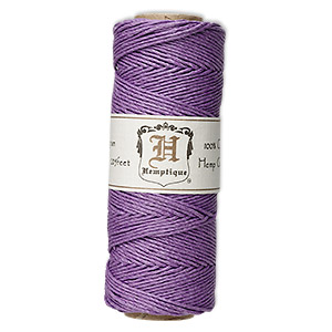 cord, hemptique, polished hemp, purple, 1mm diameter, 20-pound test. sold per 205-foot spool.
