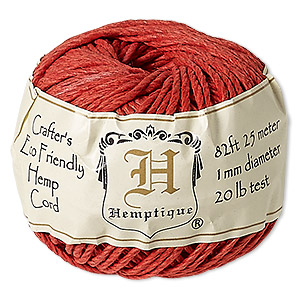 cord, hemptique, polished hemp, red, 1mm diameter, 20-pound test. sold per 82-foot ball.