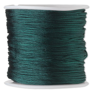 cord, imitation silk, medium green, 1mm. sold per 100-foot spool.