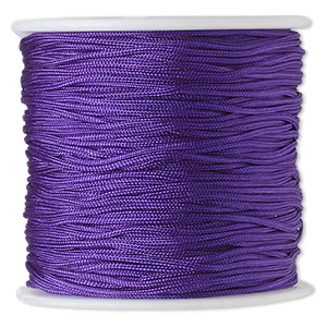 cord, imitation silk, purple, 1mm. sold per 100-foot spool.