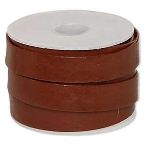 cord, leather, brown, 12mm flat. sold per 5-yard spool.